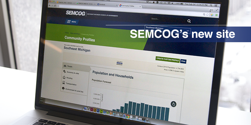 Photo of SEMCOG's new home page