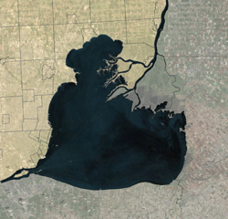 An aerial image of Lake St. Clair between Michigan and Canada